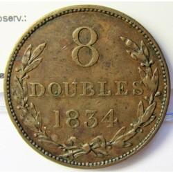 Guernsey 8 Doubles. 1834. CU. 20,4gr. Ø34mm. MBC-/MBC. (Patina). KM. 3