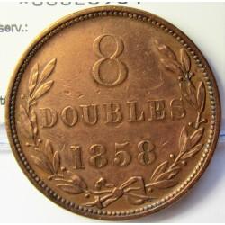 Guernsey 8 Doubles. 1858. CU. 17,8gr. Ø34mm. MBC-/MBC. (Lev.limpiada). KM. 3