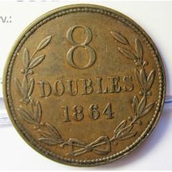 Guernsey 8 Doubles. 1864. AE. 8,8gr. Ø31mm. MBC. (Patina). KM. 7