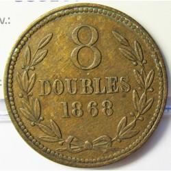 Guernsey 8 Doubles. 1868. AE. 9,2gr. Ø31mm. MBC/MBC+. (Patina). KM. 7