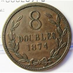 Guernsey 8 Doubles. 1874. AE. 9,4gr. Ø31mm. MBC. (Patina). KM. 7