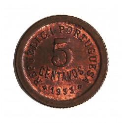 Guinea Bisau-(Portuguesa) 5 Ctvo. 1933. AE. 3,1gr. Ø19,5mm. SC. (Tono original). MUY RARO/A. y mas en esta conservacion. KM.