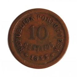 Guinea Bisau-(Portuguesa) 10 Ctvo. 1933. AE. 3,8gr. Ø22mm. MBC-/MBC. RARO/A. KM. 2