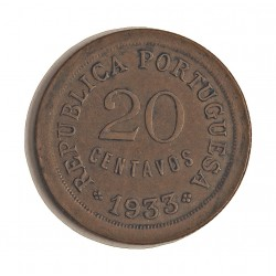 Guinea Bisau-(Portuguesa) 20 Ctvo. 1933. AE. 5gr. Ø24mm. MBC+. (Marquita rev.Patina). KM. 3