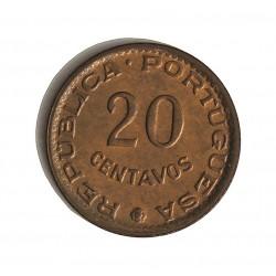Guinea Bisau-(Portuguesa) 20 Ctvo. 1973. AE. 1,6gr. Ø15,5mm. SC-/SC. (Tono original). MUY ESCASO/A. en esta conservacion. KM.