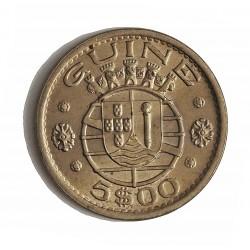 Guinea Bisau-(Portuguesa) 5 Escudos. 1973. CUNI. 7gr. Ø24mm. SC-/SC. (Tono original). ESCASO/A. en esta conservacion. KM. 15