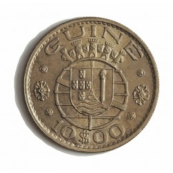 Guinea Bisau-(Portuguesa) 10 Escudos. 1973. CUNI. 9gr. Ø27,5mm. SC-/SC. (Casi todo su tono original). ESCASO/A. en esta conserv