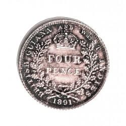 Guyana 4 Pence. 1891. AG. 1,89gr. Ley:0,925. (Britis Guyana). Ø16mm. SC-/SC. (Pátina). MUY ESCASO/A. KM. 26 Similar