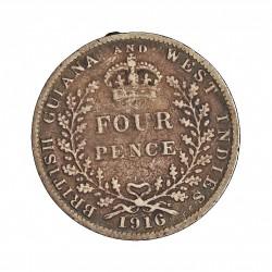 Guyana 4 Pence. 1916. AG. 1,885gr. Ley:0,925. (Britis Guyana). Ø16mm. BC/BC+. KM. 28