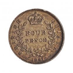 Guyana 4 Pence. 1941. AG. 1,885gr. Ley:0,925. (Britis Guyana). Ø16mm. EBC-/EBC. KM. 30