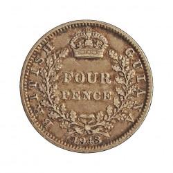 Guyana 4 Pence. 1943. AG. 1,885gr. Ley:0,925. (Britis Guyana). Ø16mm. MBC/MBC+. KM. 30