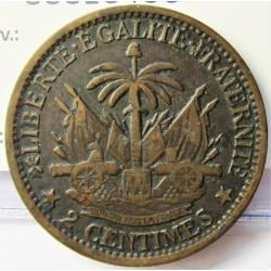 Haiti 2 Cts. 1881. AE. 10gr. Ø30mm. EBC/MBC. KM. 43