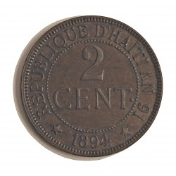 Haiti 2 Cts. 1894. AE. 10gr. Ø30mm. EBC/MBC. KM. 49