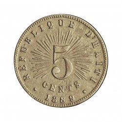 Haiti 5 Cts. 1889. CUNI. 2,6gr. Ø19mm. MBC-/MBC+. (Lev.oxid.). MUY ESCASO/A. KM. 50