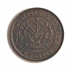 Haiti 10 Cts. 1863. AE. 4gr. Ø22mm. SC-/SC. (Patina oscura). KM. 40
