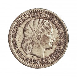 Haiti 10 Cts. 1894. AG. 2,5gr. Ley:0,835. Ø18mm. MBC+. (Manchitas). KM. 44