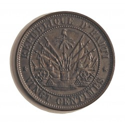Haiti 20 Cts. 1863. AE. 8gr. Ø28mm. SC-/SC. (Patina oscura). KM. 41