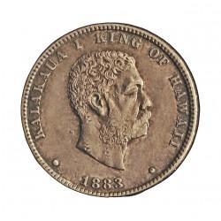 Hawai ¼ Dolar. 1883. AG. 6,22gr. Ley:0,900. (Rey Kalakaua I). Ø24mm. EBC/EBC+. KM. 5