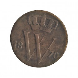 Holanda ½ Cts. 1870. CU. 1,922gr. Ley:0,000. Ø16mm. MBC-/MBC. RARO/A. KM. 90
