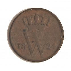 Holanda 1 Cts. 1824. CU. 3,85gr. Ø22mm. BC/BC+. MUY RARO/A. KM. 47
