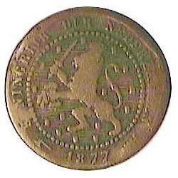 Holanda 1 Cts. 1877. CU. 2,39gr. Ø19mm. BC+. MUY ESCASO/A. KM. 107