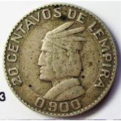 Honduras 20  Ctvo.  1932. AG. 2,5gr. Ley:0,900. Ø17,5mm. MBC+. KM. 73