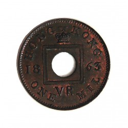 Hong Kong 1  Mil. 1863. AE. 1gr. Ø15mm. SC-/SC. (Conserva parte de su tono original). MUY RARO/A. en esta conservacion. KM. 1