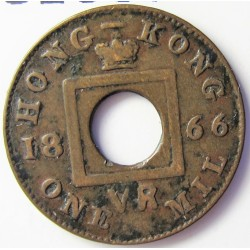 Hong Kong 1  Mil. 1866. AE. 1gr. Ø15mm. MBC. KM. 3