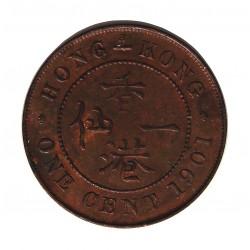 Hong Kong 1  Cent. 1901. AE. 7,5gr. Ø27,5mm. SC-/SC. (Lev.patina). MUY RARO/A. en esta conservacion. KM. 4.3