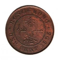 Hong Kong 1  Cent. 1905. AE. 7,5gr. Ø27,5mm. SC-/SC. (Insig.marquita.Lev.patina). MUY RARO/A. en esta conservacion. KM. 11