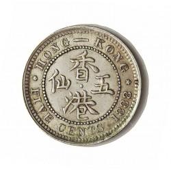 Hong Kong 5  Cent. 1888. AG. 1,358gr. Ley:0,900. Ø15,5mm. SC-/SC. (Casi inap.marquita anv.). KM. 5