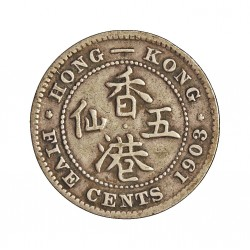 Hong Kong 5  Cent. 1903. AG. 1,358gr. Ley:0,800. Ø15,5mm. MBC-/MBC. KM. 12