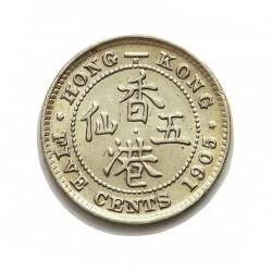 Hong Kong 5  Cent. 1905. AG. 1,358gr. Ley:0,800. Ø15,5mm. EBC+/SC-. KM. 12