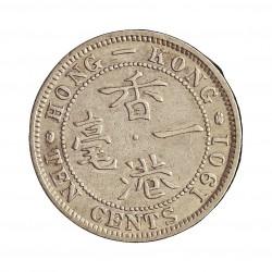 Hong Kong 10  Cent. 1901. AG. 2,715gr. Ley:0,800. Ø18mm. MBC-. KM. 6.3