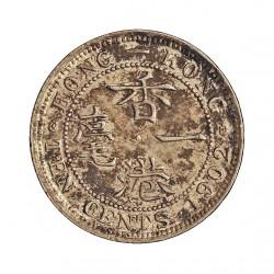 Hong Kong 10  Cent. 1902. AG. 2,715gr. Ley:0,800. Ø18mm. EBC-/EBC. KM. 13