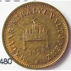 Hungria 1 Filler. 1894. KB-(Kremnitz). AE. 1,7gr. Ø17mm. SC. (Casi todo su tono original). KM. 480