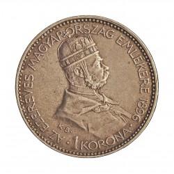 Hungria 1 Corona. 1896. KB-(Kremnitz). AG. 5gr. Ley:0,835. Ø23mm. EBC-/MBC+. KM. 487