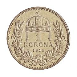 Hungria 1 Corona. 1915. KB-(Kremnitz). AG. 5gr. Ley:0,835. Ø23mm. EBC+/SC-. KM. 492