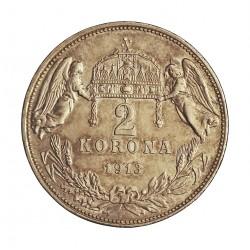 Hungria 2 Corona. 1913. KB-(Kremnitz). AG. 10gr. Ley:0,835. Ø27mm. SC-. KM. 493