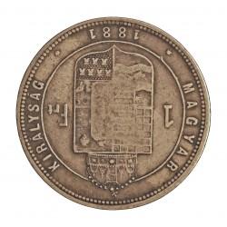 Hungria 1 Forint. 1881. KB-(Kremnitz). AG. 12,235gr. Ley:0,900. Ø29mm. MBC-. KM. 465