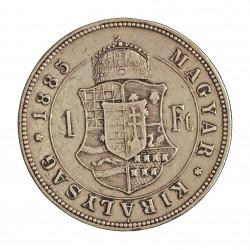 Hungria 1 Forint. 1887. KB-(Kremnitz). AG. 12,346gr. Ley:0,900. (Imagen tipo). Ø29mm. MBC-/MBC. KM. 469