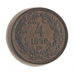 Hungria 4 Krajczar. 1869. KB-(Kremnitz). CU. 13,6gr. Ø27mm. MBC. (Marquita anv.). KM. 442