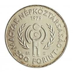 Hungria 200 Forint. 1979. BP. AG. 28gr. Ley:0,640. (Año Intern.Niño). Ø37mm. PRF. KM. 615