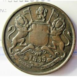 India Britanica ½ Anna. 1835. CU. 12,7gr. Ø30mm. MBC/MBC+. KM. 447.1
