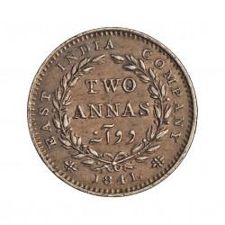 India Britanica 2 Anna. 1841. AG. 1,46gr. Ley:0,917. Ø15mm. EBC/EBC+. KM. 459.2/460.1 .?