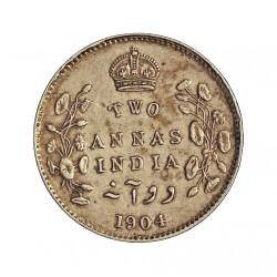India Britanica 2 Anna. 1904. C-(Calcuta). AG. 1,46gr. Ley:0,917. Ø15mm. MBC+/EBC-. KM. 505