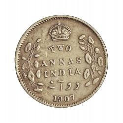 India Britanica 2 Anna. 1907. C-(Calcuta). AG. 1,46gr. Ley:0,917. Ø15mm. MBC/MBC+. KM. 505
