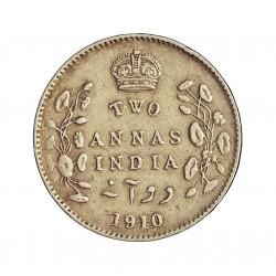 India Britanica 2 Anna. 1910. C-(Calcuta). AG. 1,46gr. Ley:0,917. Ø15mm. MBC/MBC+. KM. 505