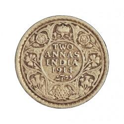 India Britanica 2 Anna. 1914. C-(Calcuta). AG. 1,46gr. Ley:0,917. Ø15mm. MBC/MBC+. KM. 515