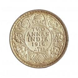 India Britanica 2 Anna. 1916. C-(Calcuta). AG. 1,46gr. Ley:0,917. Ø15mm. SC-/SC. KM. 515